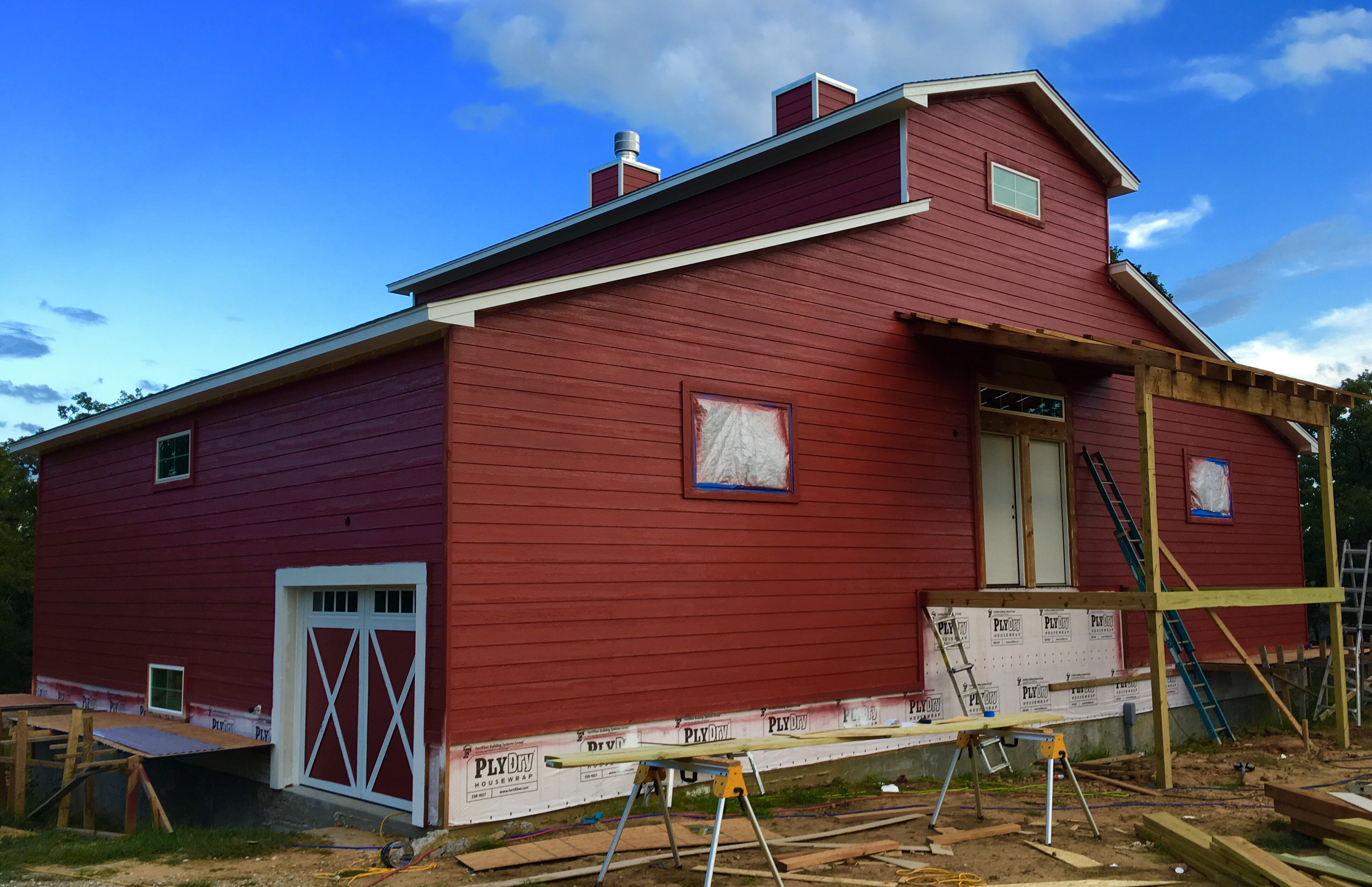 If Youre Curious About The Shade Of Red Its Sherwin Williams Fireweed And White Trim Is Extra I Saw A Barn Home With Perfect Colors